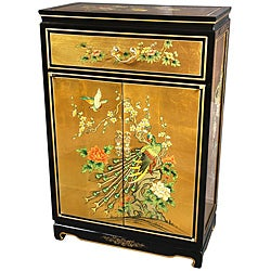 Gold Leaf Birds and Flowers Shoe Cabinet (China)