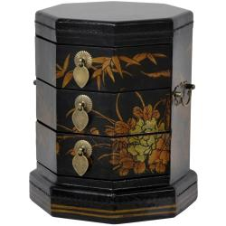 Black Lacquer Hexagon Jewelry Box (China)