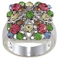 City Style Silvertone Multi-colored Crystal Pave Ring