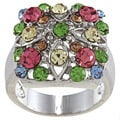 City by City City Style Silvertone Multi-colored Crystal Pave Ring