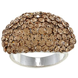 High-polish Silvertone Brass Pave-set Brown Crystal Fashion Ring