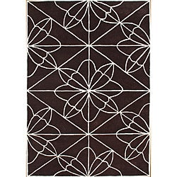 Alliyah Handmade Chocolate Brown New Zealand Blend Wool Rug (5' x 8')