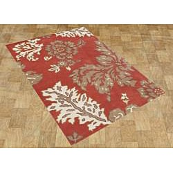Handmade Sabrina Poppy Red Wool Rug (5' x 8')