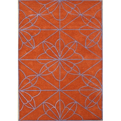 Handmade Red Orange Wool Rug (8' x 10')