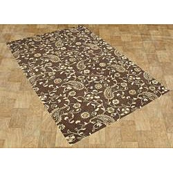 Hand-tufted Tobacco Brown Wool Area Rug (8' x 10')