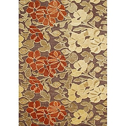 Alliyah Handmade Tobacco Brown New Zealand Blend Wool Rug (8' x 10')