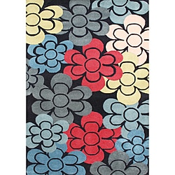 Hand-tufted Black Wool Rug (5' x 8')