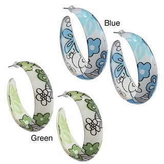 Acrylic Colored Floral Semi-hoop Earrings