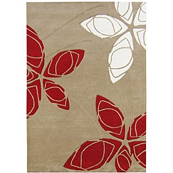 Alliyah Handmade Golden Olive New Zealand Blend Wool Rug (8' x 10')