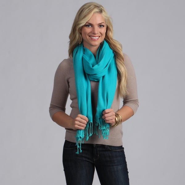 Peach Couture Silk Blend Turquoise Wrap