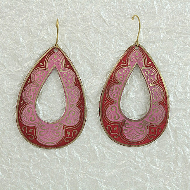 Handcrafted Pink 'RainDrop' Earrings (India)