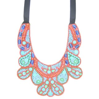 Handcrafted Red/ Turquoise 'Blissful Melody' Bib Necklace (India)