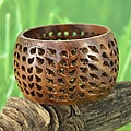 Hand-carved Mangowood 'Leaf Halo' Bangle Bracelet (India)