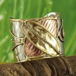 Hand-crafted Three-tone 'Butterfly' Cuff Bracelet (India)