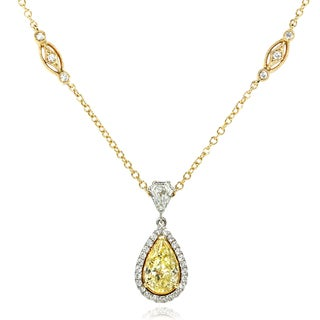 Annello 18k Two-tone Gold 2 7/8ct TDW Certified Diamond Necklace (G-H, VS1-VS2)
