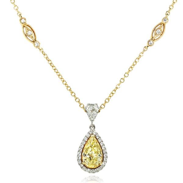 Annello 18k Two-tone Gold 2 7/8ct TDW Certified Diamond Necklace (G-H, VS1-VS2)