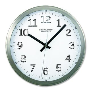 9-inch Brushed Metal Frame White Dial Wall Clock