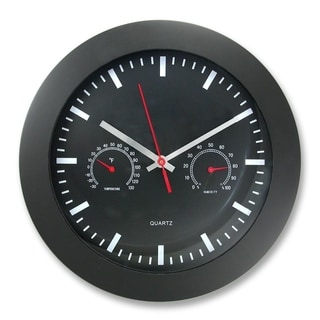 12-inch Black Frame/ Face Wall Clock with Temperature and Humidity