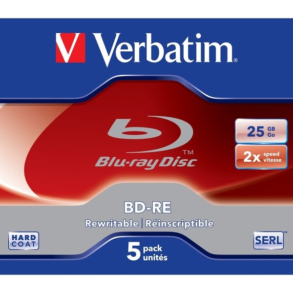 Verbatim BD-RE 25GB 2X with Branded Surface - 5pk Jewel Case 9018398
