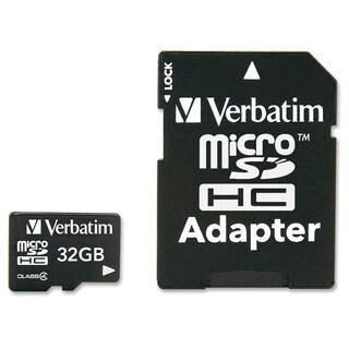 Verbatim 32GB MicroSDHC Memory Card with Adapter, Class 4