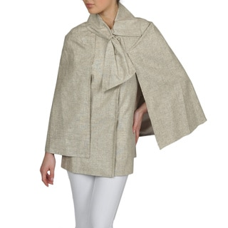 Tahari Women's Linen Blend Bow Collar Cape