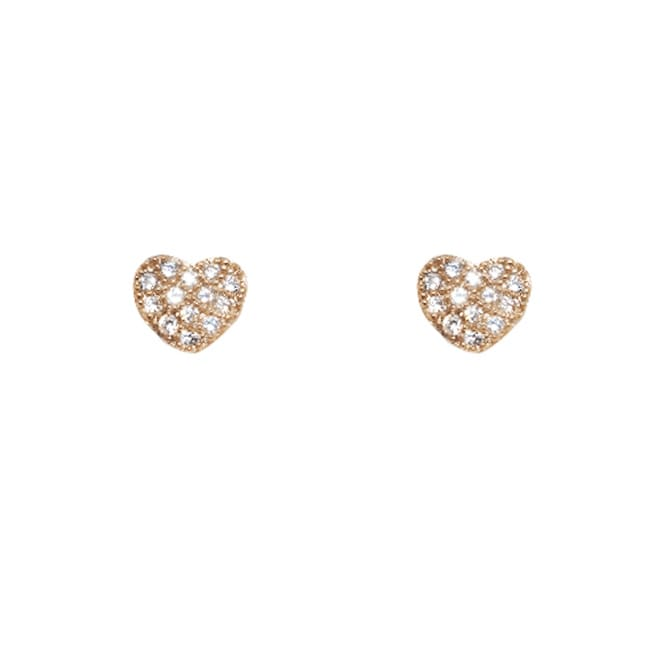 14k Rose Gold over Silver Cubic Zirconia Heart Stud Earrings