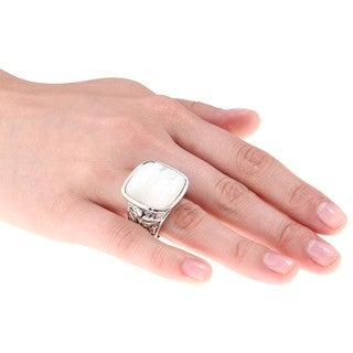 City Style Silvertone White Mother of Pearl Antiqued Square Ring