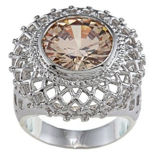 City Style Silvertone Champagne Crystal Filigree Ring