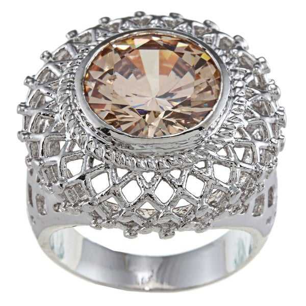 City by City City Style Silvertone Champagne Crystal Filigree Ring