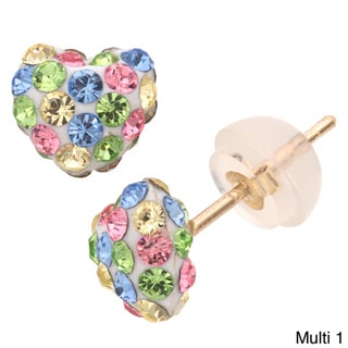 10-karat Gold Heart-shaped Multicolored-crystal Stud Earrings