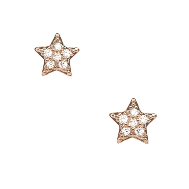 14k Rose Gold over Silver Cubic Zirconia Star Stud Earrings
