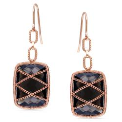 Miadora 14k Pink Gold over Silver 16ct TGW Smokey Quartz Drop Earrings