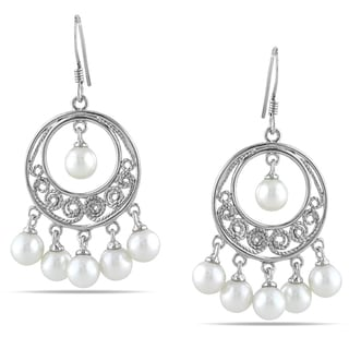 Miadora Sterling Silver Freshwater Pearl Chandelier Earrings (5-5.5 mm)