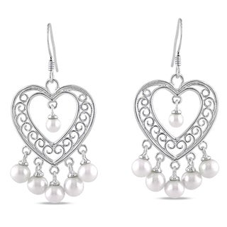 Miadora Sterling Silver Freshwater Pearl Chandelier Earrings (3.5-5.5 mm)