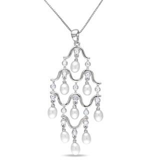 Miadora Silver FW Pearl and Cubic Zirconia Chandelier Necklace (4-4.5 mm)