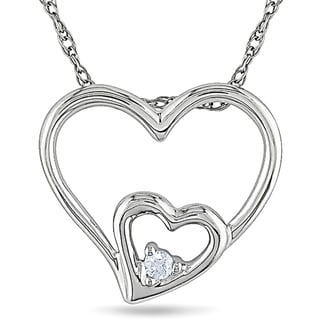 M by Miadora 10k White Gold Diamond Accent Double Heart Necklace