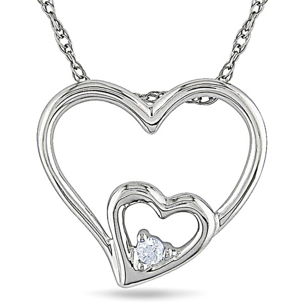 Haylee Jewels 10k White Gold Diamond Accent Double Heart Necklace