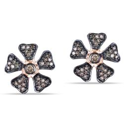 Miadora 10k Pink Gold 1/4ct TDW Brown Diamond Flower Earrings
