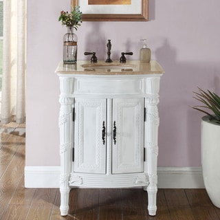 Silkroad Exclusive 26-inch Stone Counter Top Bathroom Vanity Lavatory Single Sink Cabinet