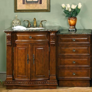 Silkroad Exclusive 53-inch Stone Counter Top Bathroom Vanity Lavatory Single Sink Cabinet