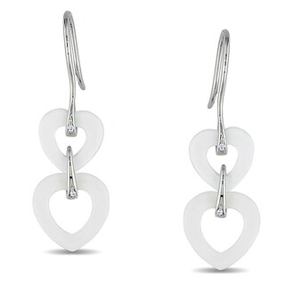 M by Miadora Sterling Silver 6 1/2ct TGW White Onyx and Diamond Accent Earrings