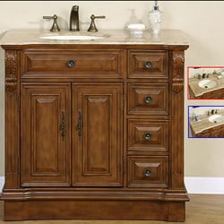 Silkroad Exclusive 38-inch Stone Counter Top Bathroom Vanity Lavatory Single Sink Cabinet