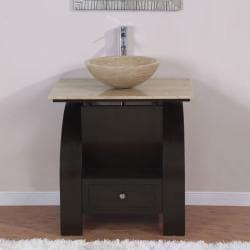 Silkroad Exclusive 30-inch Stone Counter Top Bathroom Vanity Lavatory Single Vessel Sink Cabinet