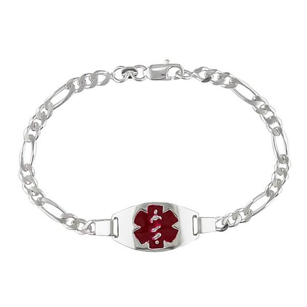 Miadora Sterling Silver Medical Link 7.5-inch Bracelet