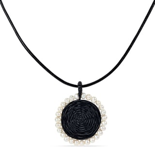M by Miadora Black Leather Cord Freshwater Pearl 19-inch Necklace