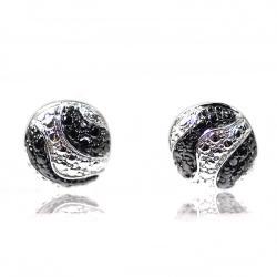 De Buman Sterling Silver Black Diamond Accent Stud Earrings