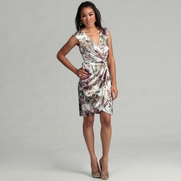London Times Women's Soft White/ Purple Dress