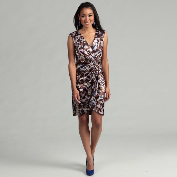 London Times Women's Taupe/ Violet Ruched Dress