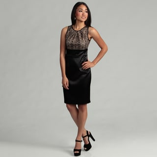 London Times Women's Black/ Nude Lace Dress