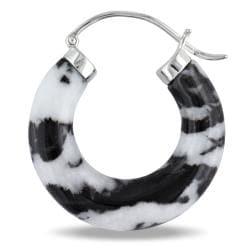Miadora Sterling Silver Zebra Print Jasper Hoop Earrings